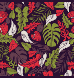 Tropical flowers and leaves pattern vector