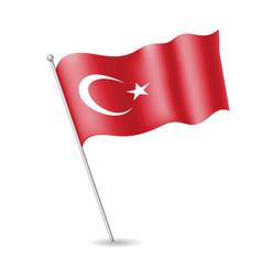 Turkish flag on flagstaff vector