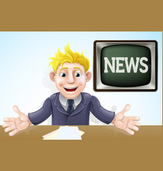 tv newscaster cartoon vector image