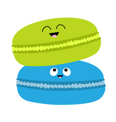 two macaron or macaroon icon sweet bakery pastry vector image