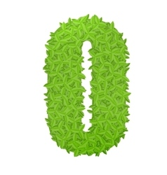 Uppecase letter O consisting of green leaves vector image
