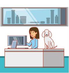 Veterinary in attention office with dog vector