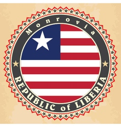 Vintage label cards of Liberia flag vector image