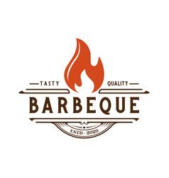 Vintage retro rustic bbq grill barbecue vector