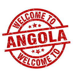 Welcome to angola red stamp vector