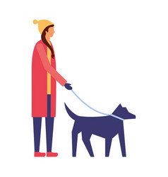 woman with winter clothes walking her dog vector image