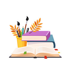 books pile and writing tools set of school and vector image