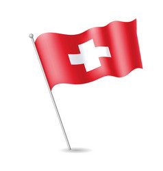flag of switzerland on the flagstaff vector image