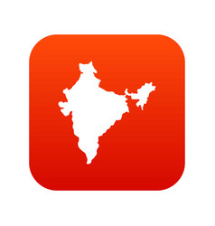 Indian map icon digital red vector