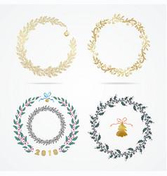 set laurel wreath design element for christmas vector image
