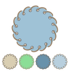 Set of round stickers and labels with rope vector