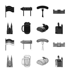 country germany blackmonochrome icons in set vector image