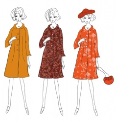 fashion girls in winter coats vector image vector image