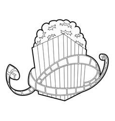 film and popcorn icon outline style vector image vector image