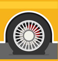 Flat tire on car vector
