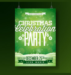 merry christmas party flyer vector image