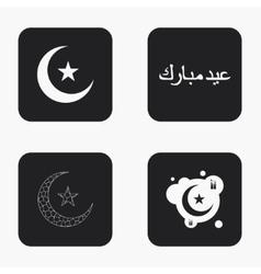 modern eid mubarak icons set vector image
