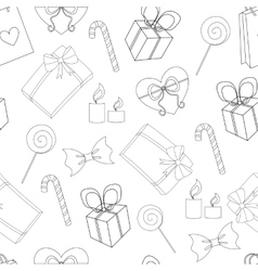 Seamless Happy birthday elements line pattern vector image vector image