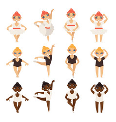 set with cute little ballerinas in various vector image