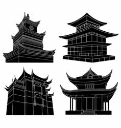 Chinese pagoda silhouettes vector