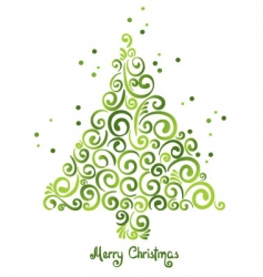 Christmas tree of curls vector image vector image