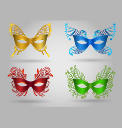 colorful carnival mask set vector image vector image