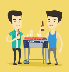 asian friends having fun at barbecue party vector image