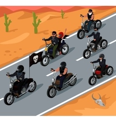 Bikers Riding on the Highway Design vector image