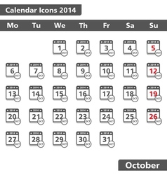 October 2014 Calendar Icons vector image vector image