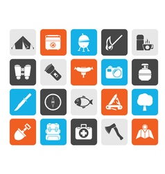 Silhouette Camping travel and Tourism icons vector image vector image