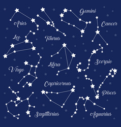 12 zodiac signs constellations set on dark vector image