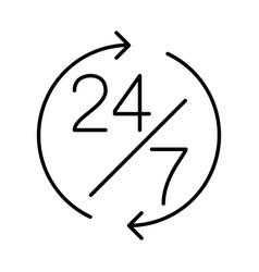 24 7 support thin line symbol icon vector