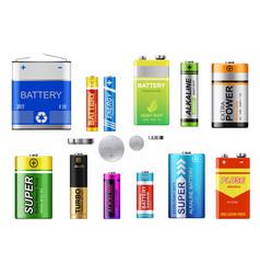 Alkaline batteries button cells and accumulators vector