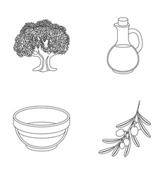 an olive tree a branch with olives a vessel and vector image