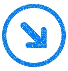 Arrow Right Down Rounded Icon Rubber Stamp vector