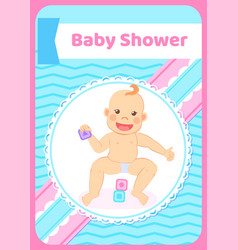 Baby shower greeting card kid playing with blocks vector