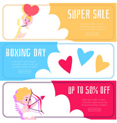 banner with discounts and sales with angels and vector image