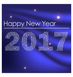 blue shiny happy new year 2017 from little vector image