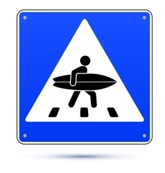 Blue square crossing road sign with surfer vector image