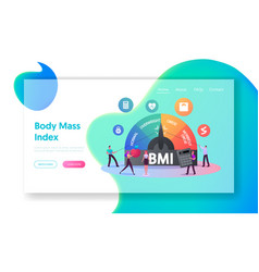 body mass index landing page template tiny vector image