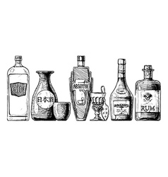 Bottles of alcohol Distilled beverage vector
