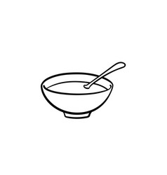 bowl of hot soup hand drawn sketch icon vector image