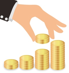 Business Hand Giving Coins To Stacks Of Coins vector image