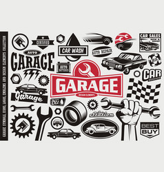 Car service and garage symbols vector