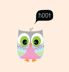 Card with cute owl vector