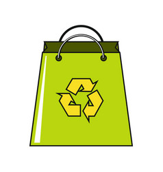 Cartoon paper bag icon on white background vector