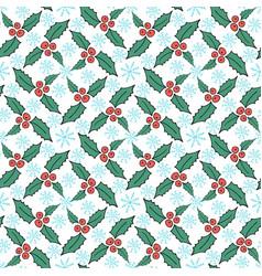 christmas mistletoe seamless pattern new year vector image