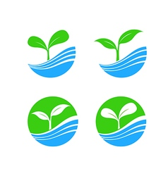 Circle shape logo element with nature plant and vector image