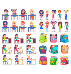 classmates and backpack school sticker vector image