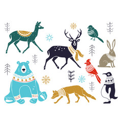 collection artistic hand drawn christmas vector image